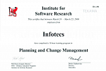 Сертификат от ТЕKАМА и Institute for Software Research по направлению Planning and Change Management