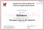 Сертификат от ТЕКАМА и Institute for Software Research по направлению Managing Software Development